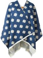 Ermanno Gallamini Geometric Print Blanket Coat, Women's, Blue, Virgin Wool