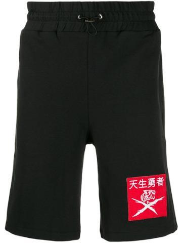 Plein Sport Contrast Logo Patch Shorts - Black