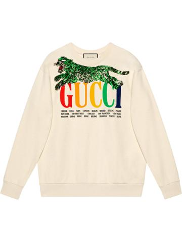 Gucci Gucci Cities Sweatshirt With Tiger - White