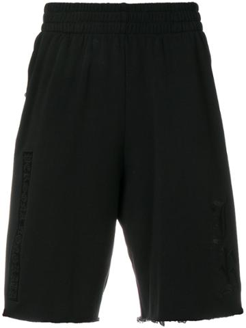 John Richmond Embroidered Track Shorts - Black