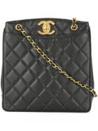 Chanel Vintage Quilted Cc Shoulder Tote Bag - Black