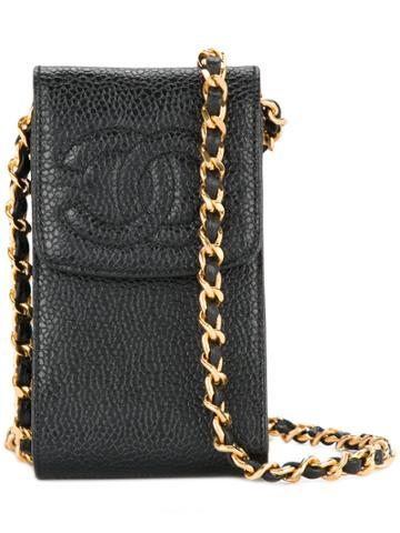 Chanel Vintage Logo Crossbody Phone Case - Black