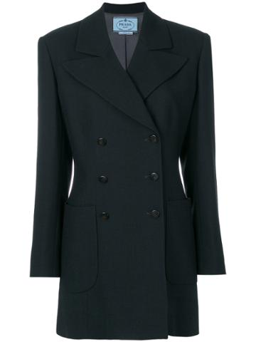 Prada Vintage Long Double Breasted Blazer - Black
