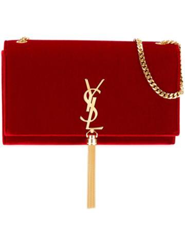 Saint Laurent Velvet 'monogram' Shoulder Bag
