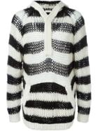 Saint Laurent Striped Hooded Sweater, Men's, Size: Xs, Black, Wool/mohair/nylon