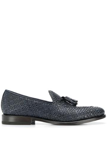 Henderson Baracco Woven Fringe Detail Loafers - Blue