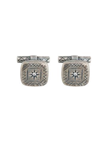 Bottega Veneta Engraved Cufflinks - Metallic
