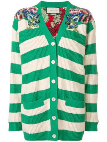Gucci Striped Embellished Cardigan - Green