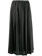 Junya Watanabe Polka-dot Pleated Skirt - Black