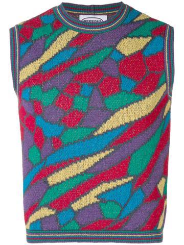 Missoni Vintage Geometric Patterned Knitted Vest - Multicolour