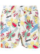 Sun 68 Hawaiian Print Swim Shorts - White