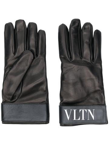 Valentino Fur-lined Logo Gloves - Black