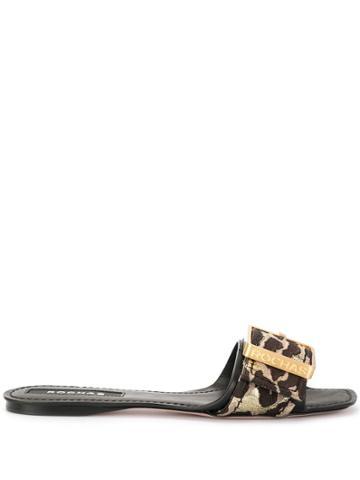 Rochas Leopard Pattern Slides - Brown