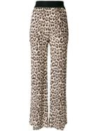 Twin-set Leopard Print Flared Trousers - Brown