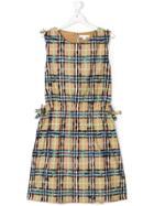 Burberry Kids Check Print Dress - Nude & Neutrals