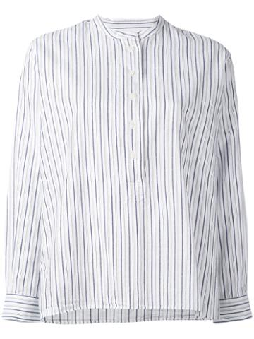Margaret Howell - Striped Collarless Blouse - Women - Cotton/linen/flax/ramie - L, White, Cotton/linen/flax/ramie