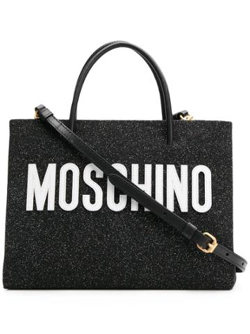 Moschino Medium Glitter Shopping Bag - Black