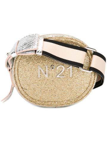 No21 Logo Plaque Shoulder Bag, Women's, Grey, Leather/lurex/polyamide
