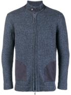 Doriani Cashmere Knitted High Neck Cardigan - Blue