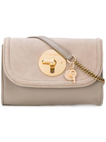 See By Chloé - Lois Mini Bag - Women - Cotton/calf Leather/sheep Skin/shearling - One Size, Grey, Cotton/calf Leather/sheep Skin/shearling