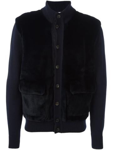 Brioni 'uma' Cardigan, Men's, Size: 52, Blue, Mink Fur/cashmere