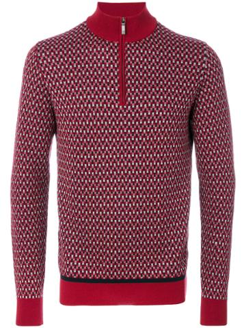 Brioni - Zipped Collar Sweater - Men - Silk/wool - 48, Red, Silk/wool