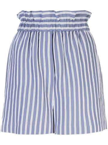 Tibi Striped Short Shorts - Blue
