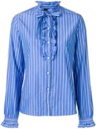 Etro Striped Ruffle Trim Shirt - Blue