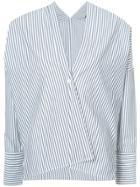 Nili Lotan Single Button Striped Blouse - Blue