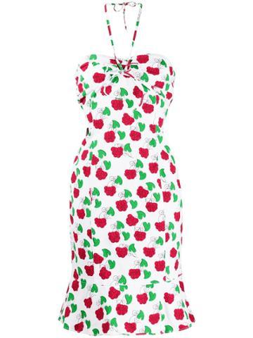 Moschino Pre-owned Raspberry Print Halterneck Dress - White