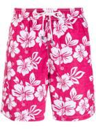 Hackett Floral Print Swim Shorts - Pink