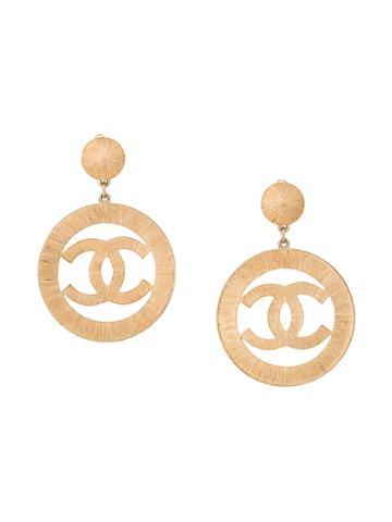 Chanel Vintage Logo Oversized Earrings - Metallic