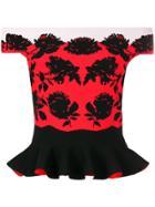 Alexander Mcqueen Floral Knit Peplum Top - Black