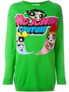 Moschino Powerpuff Girls Intarsia Sweater, Women's, Size: Xs, Green, Cotton