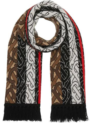 Burberry Brown Monogram Intarsia Cashmere Football Scarf