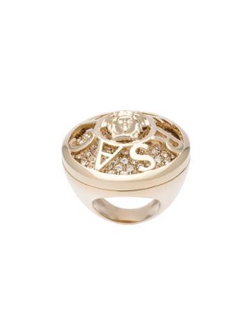 Versace Embellished Medusa Ring, Women's, Metallic