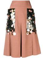 Bottega Veneta Sequin Embellished Linen Skirt - Neutrals