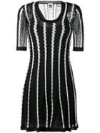 M Missoni - Stripe Panel Flared Dress - Women - Cotton/polyamide/polyester/metallic Fibre - 44, Black, Cotton/polyamide/polyester/metallic Fibre