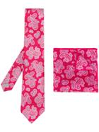 Canali Floral Print Tie Set - Red