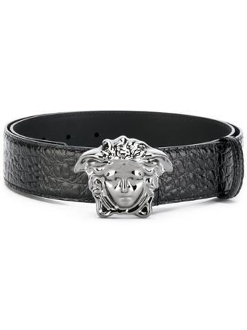 Versace - Crocodile-effect Medusa Palazzo Belt - Men - Calf Leather - 110, Black, Calf Leather