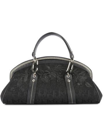 Christian Dior Vintage Trotter Pattern Hand Bag - Black