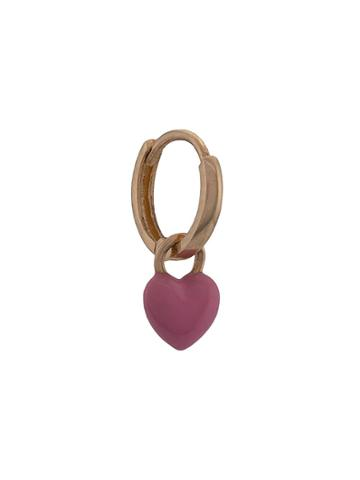 Alison Lou 14kt Yellow Gold Heart Drop Huggie Earring - Pink