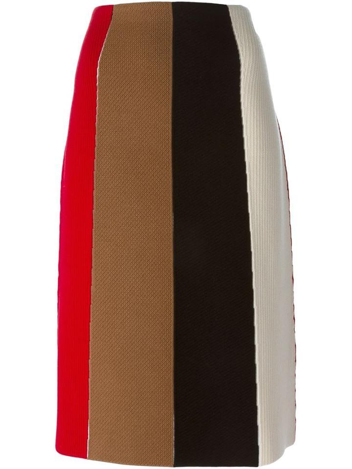 Salvatore Ferragamo Striped Midi Skirt