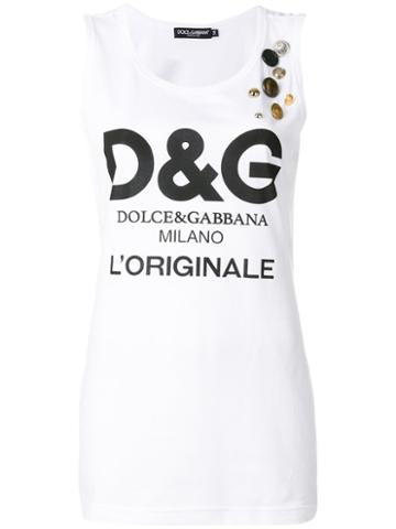 Dolce & Gabbana - Logo Print Tank Top - Women - Cotton - 42, White, Cotton