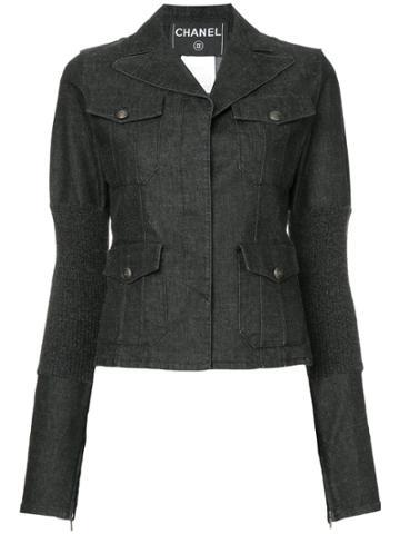 Chanel Vintage Patch Pockets Denim Jacket - Black