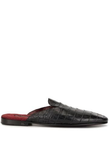 Dolce & Gabbana Crocodile Effect Slippers - Black