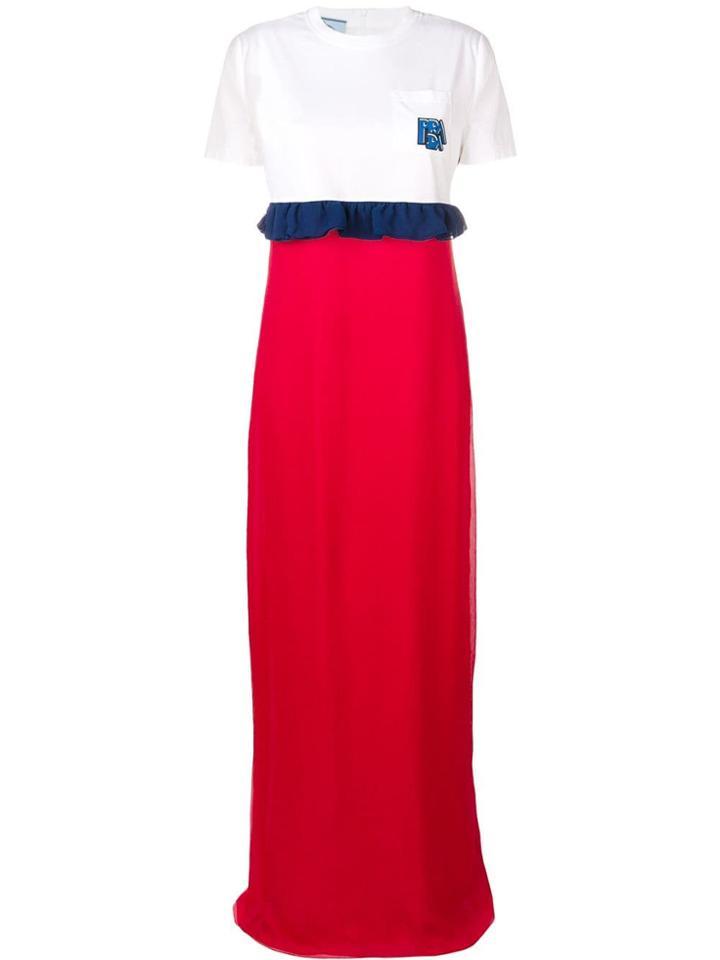 Prada Jersey And Chiffon Maxi Dress - White