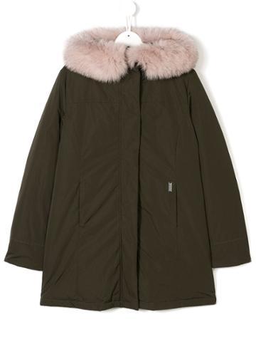 Woolrich Kids Teen Padded Hooded Coat - Green