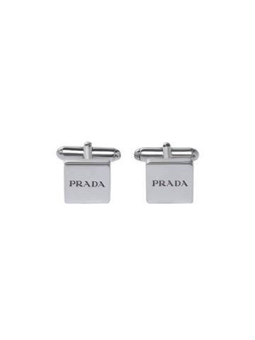 Prada Logo Engraved Cufflinks - Metallic