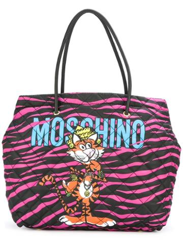 Moschino Jewelled Tiger Print Tote, Women's, Black, Polyester/leather
